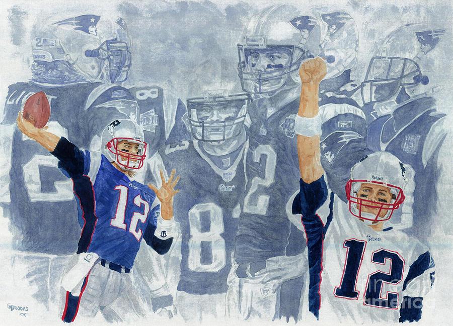 Tom Brady Painting - Tom Brady Quarterback Study 1 by George  Brooks