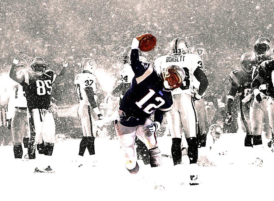 Tom Brady Mixed Media - Tom Brady Touchdown Spike by Brian Reaves