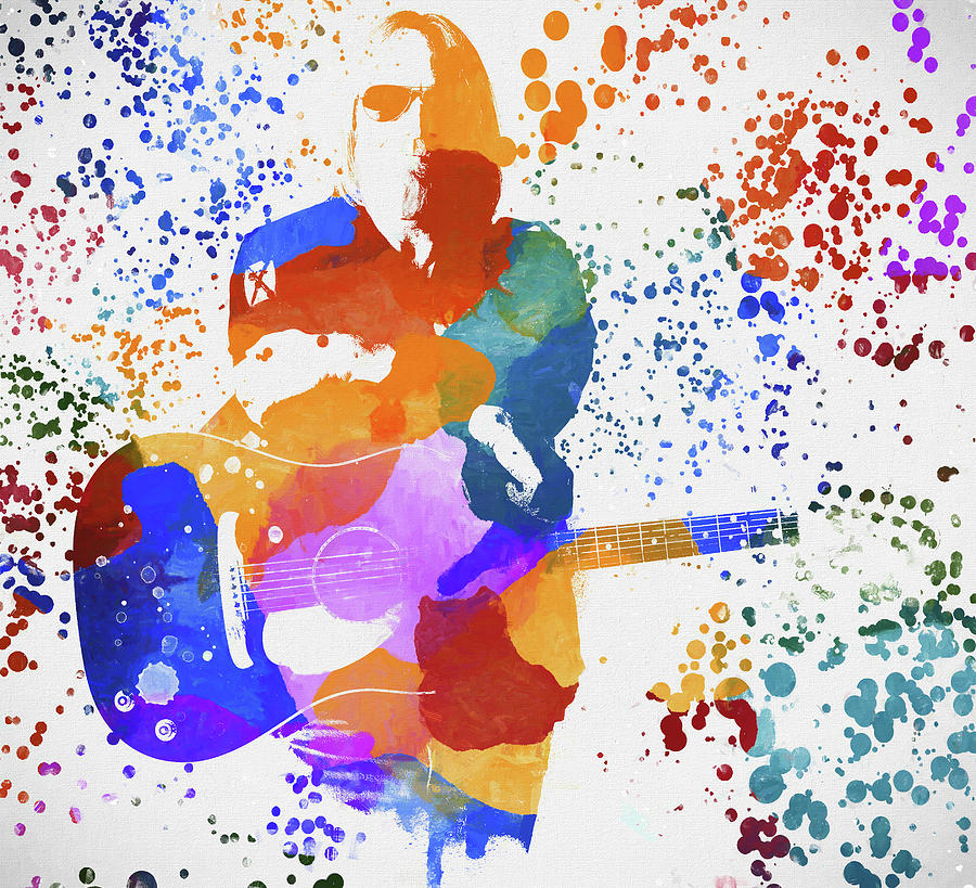 Tom Petty Paint Splatter Painting