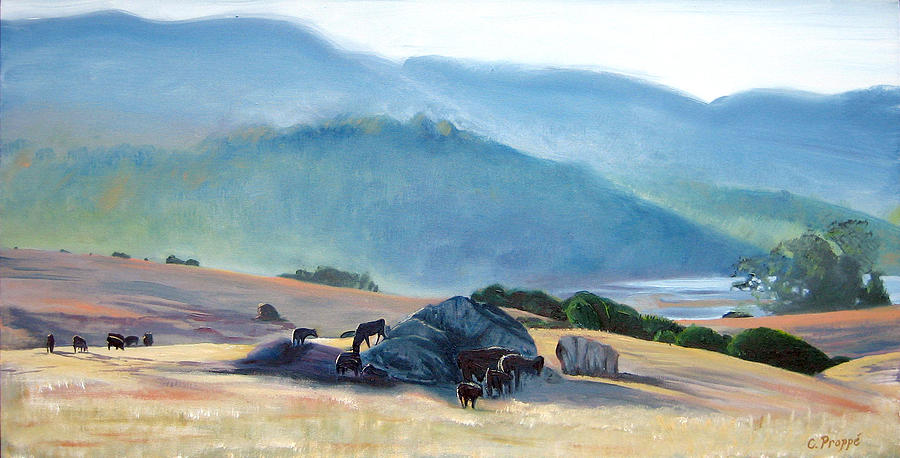 Cows Painting - Tomales Twilight by Colleen Proppe