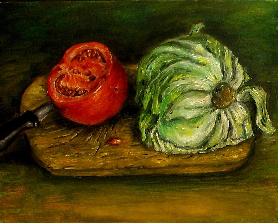 Tomatoes Painting - Tomato And Cabbage Oil Painting Canvas by Natalja Picugina