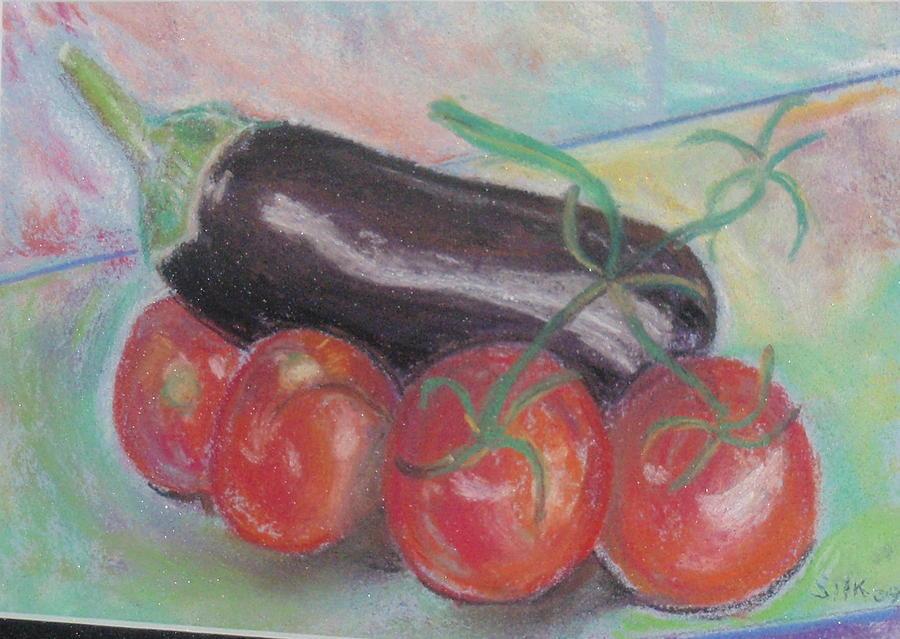 Vegitables Pastel - Tomato And Eggplant by Samuel Silk