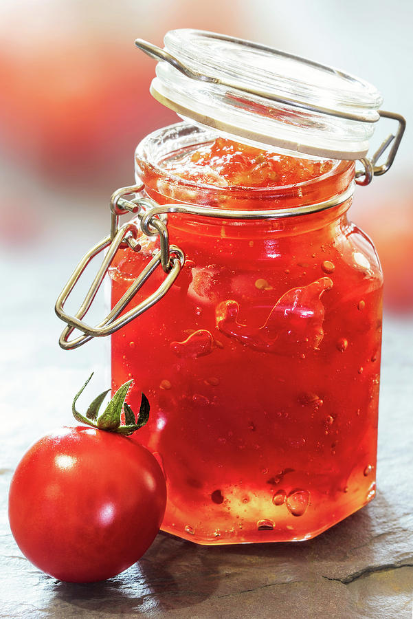 Tomato Photograph - Tomato Jam In Glass Jar by Johan Swanepoel