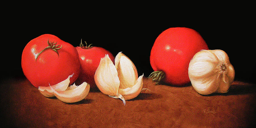 Tomato Painting - Tomatoes And Garlic by Timothy Jones