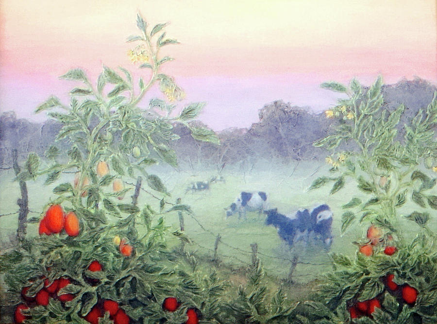 Landscape Mixed Media - Tomatoes In The Mist by Lee Baker DeVore