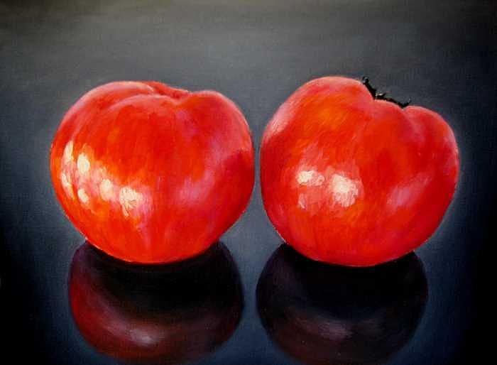 Tomatoes Painting - Tomatoes Original Oil Painting by Natalja Picugina