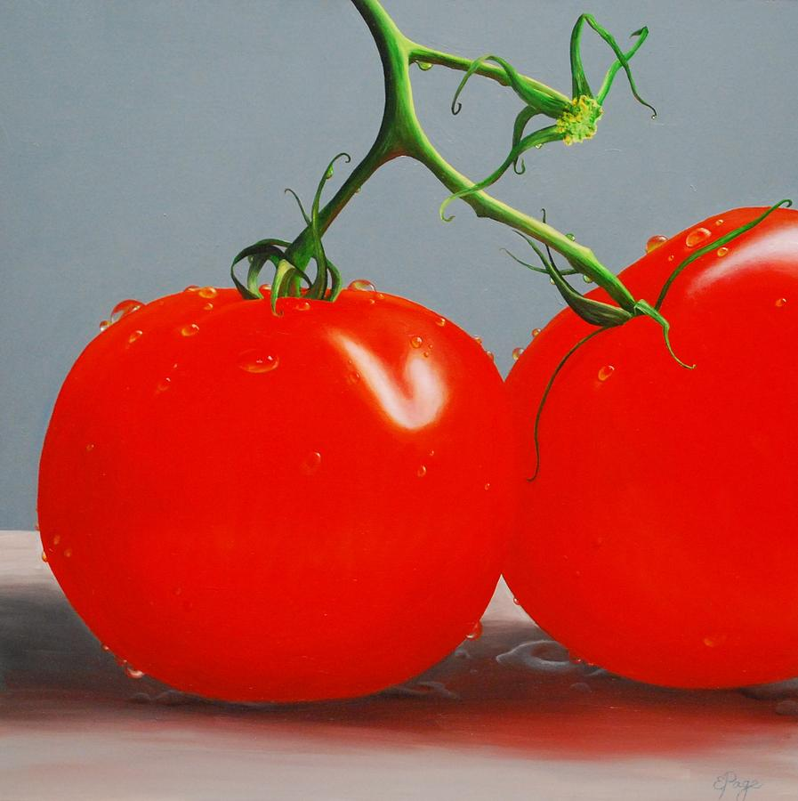 Realism Painting - Tomatoes with Stems by Emily Page