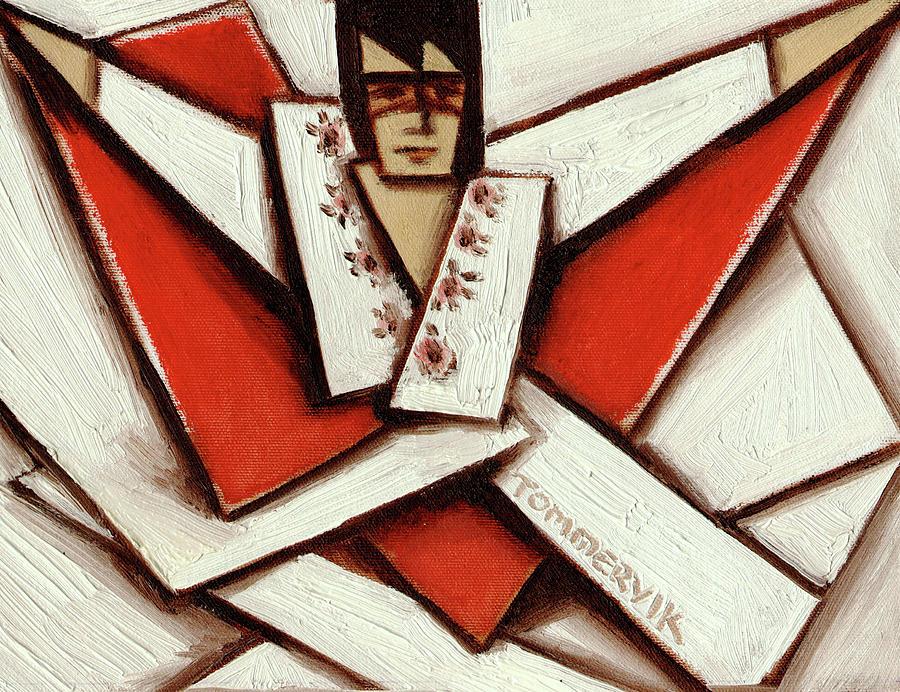 Elvis Painting - Tommervik Abstract Cubism Elvis Red Cape Art Print by Tommervik