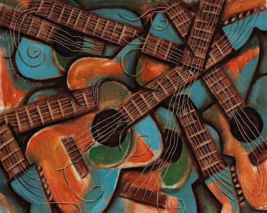 Guitar Painting - Tommervik Abstract Guitars Art Print by Tommervik