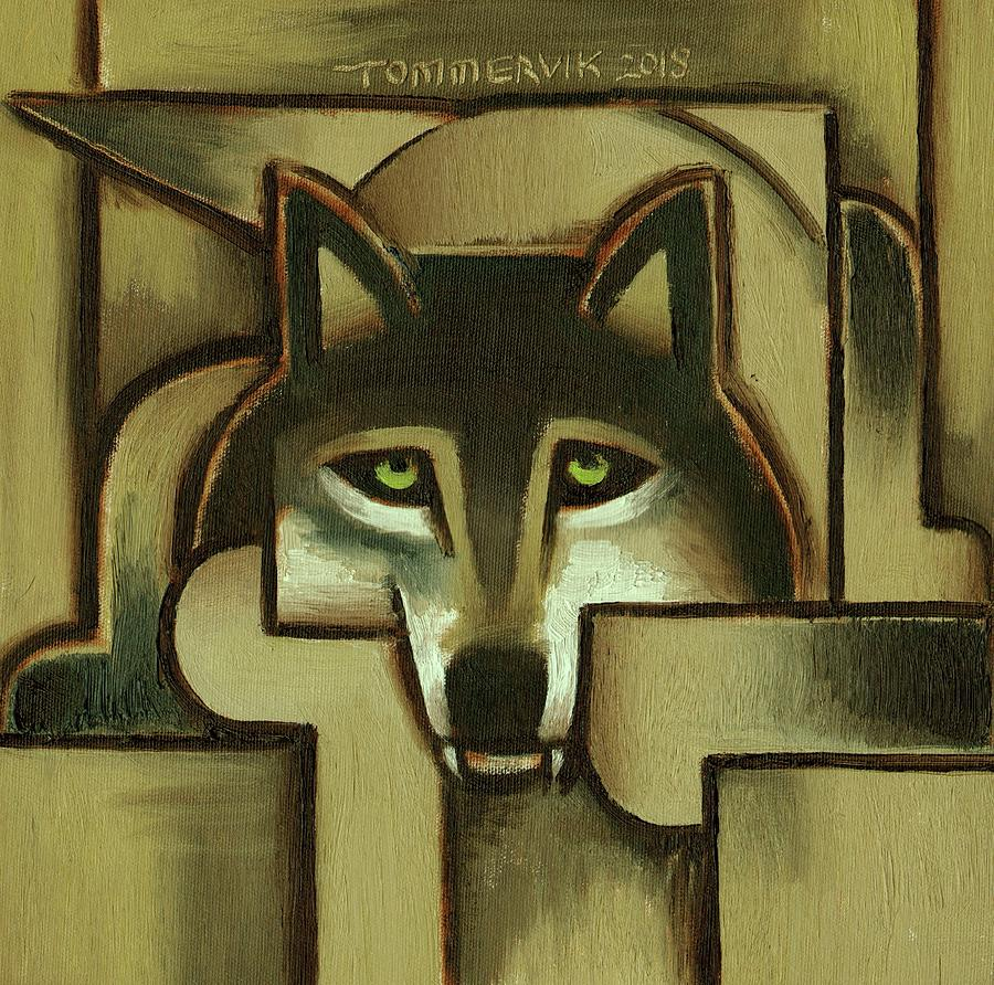Tommervik Painting - Wolf Wall Art - Gold Abstract Wolf - By Tommervik by Tommervikolf Abstract Wolf - By Tommervik