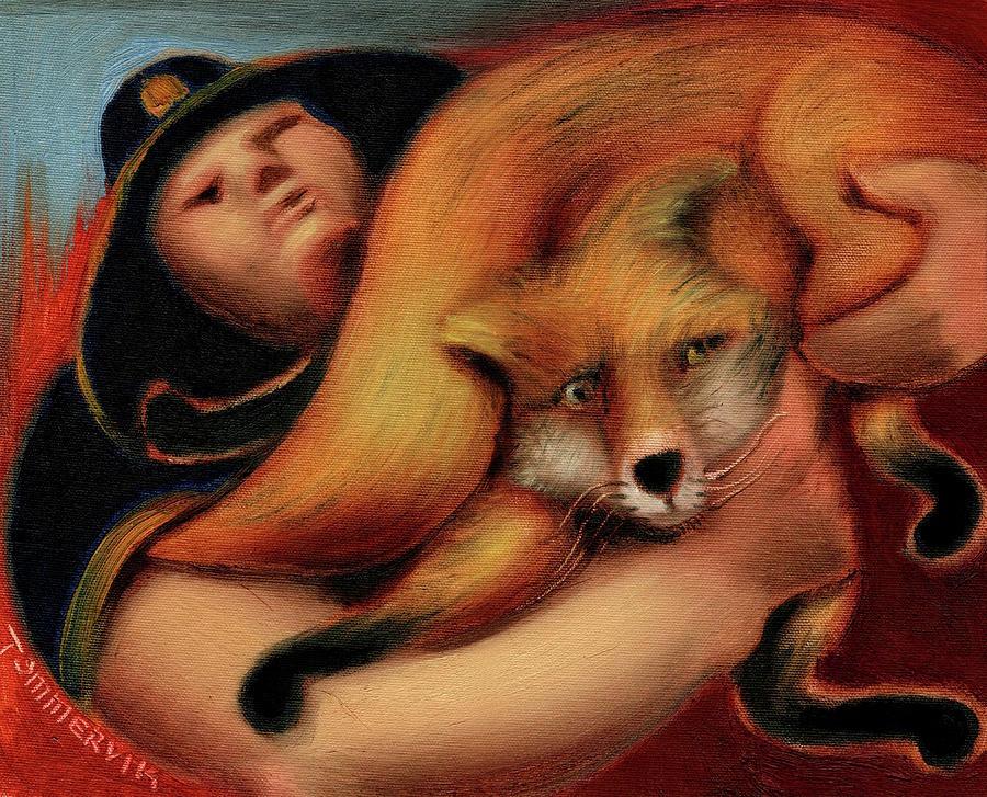 Fire Painting - Tommervik Park Ranger Rescuing Fox Art Print by Tommervik