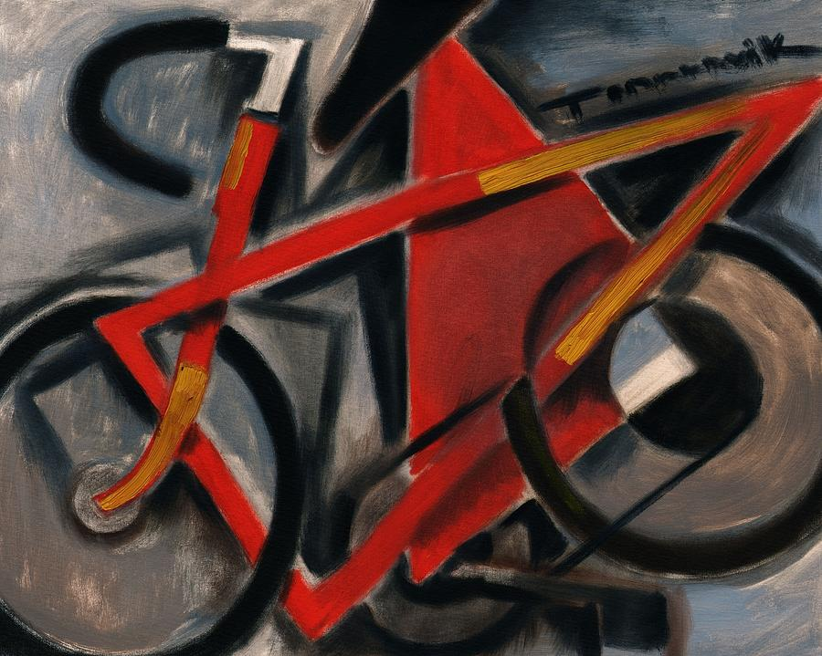 Red Painting - Tommervik Abstract Cubism Red Ten Speed Bike Art Print by Tommervik