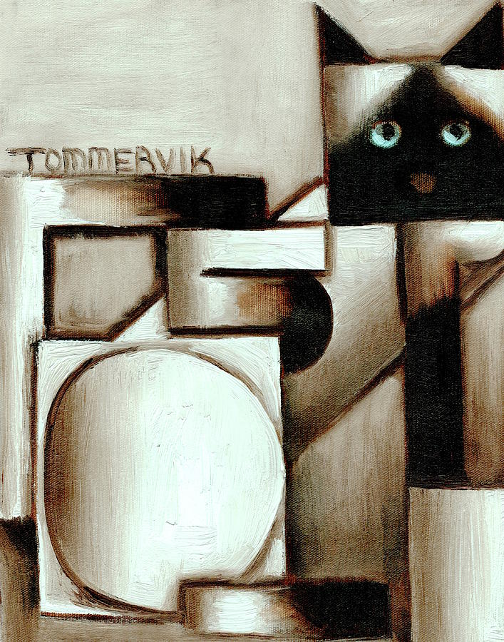 Tommervik Abstract Siamese Cat Art Print by Tommervik