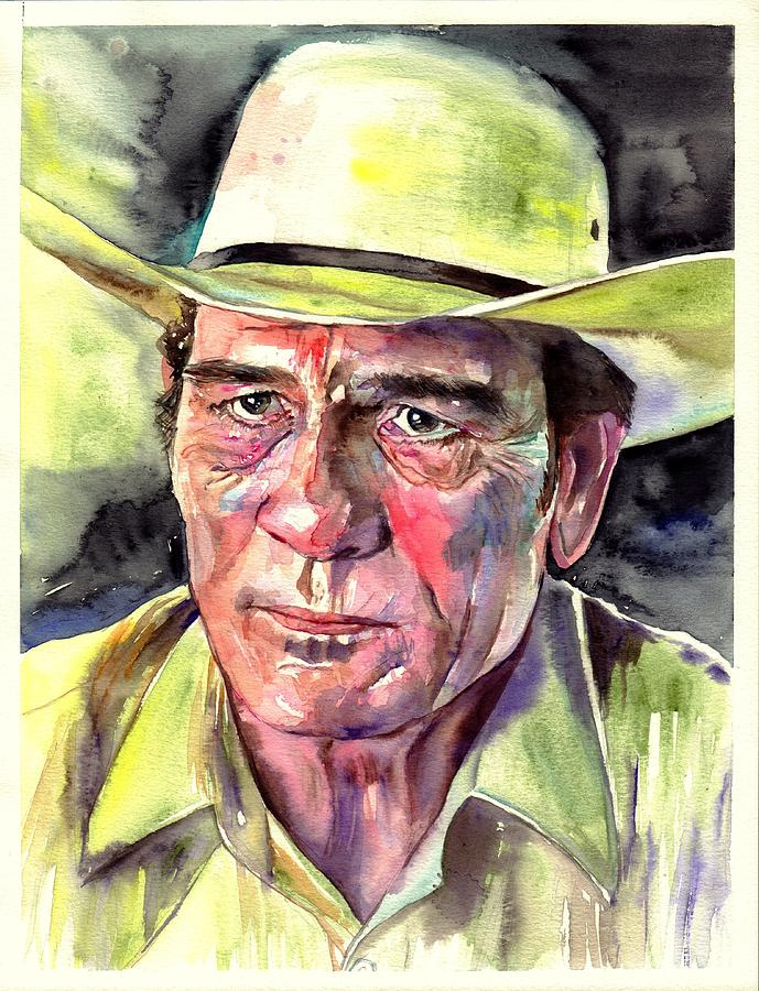 Tommy Painting - Tommy Lee Jones Portrait Watercolor by Suzanns Art