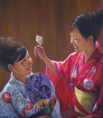 Oil Painting Painting - Tomodachi by Angela Baggett