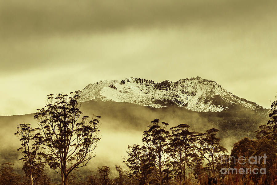 Vintage Photograph - Toned View Of A Snowy Mount Gell, Tasmania by Jorgo Photography - Wall Art Gallery