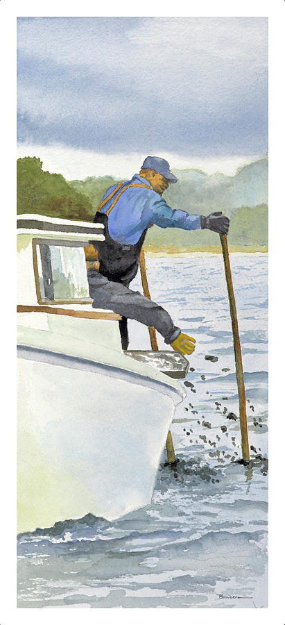 Boat Man Painting - Tonger by Mary Blumberg