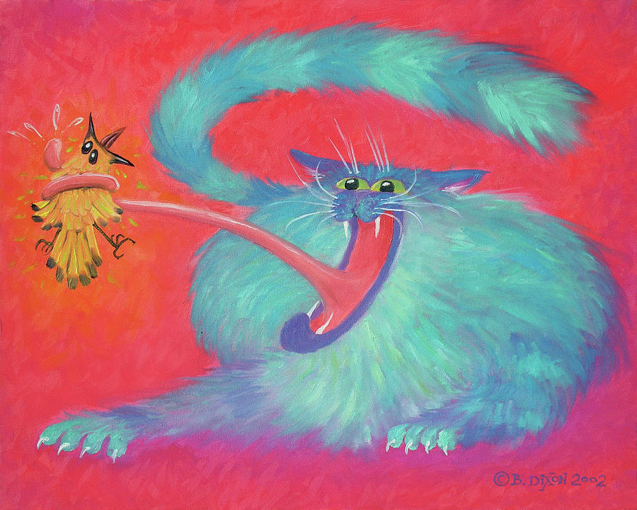 Cat Painting - Tongue-tied by Baron Dixon