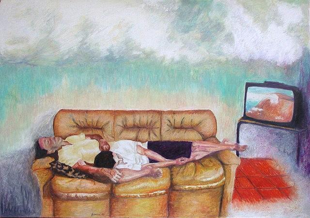 Television Painting - Tony E Ricky by Sergio Guerrini