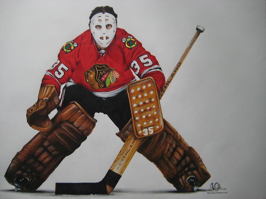 Hockey Drawing - Tony Esposito by Brian Schuster