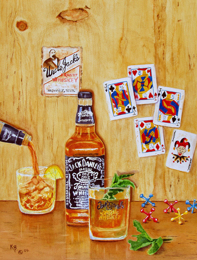 Jack Daniels Painting - Too Many Jacks by Karen Fleschler