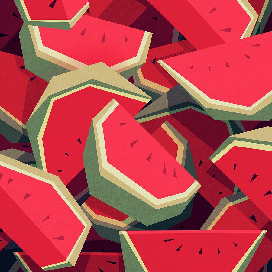 Watermelon Digital Art - Too Many Watermelons by Yetiland