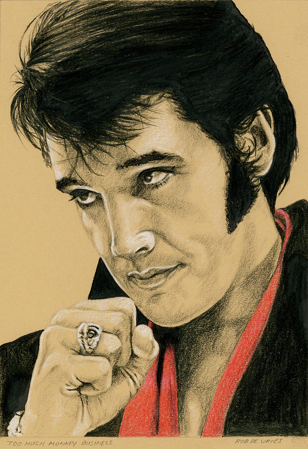 Elvis Drawing - Too much monkey business by Rob De Vries