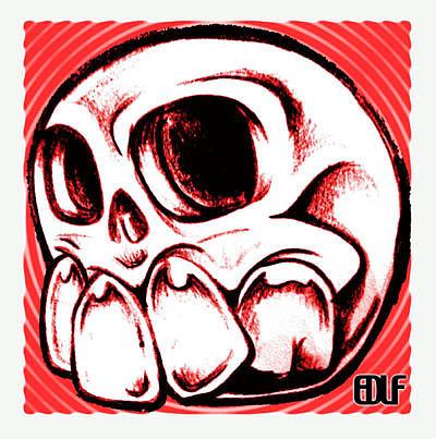 Skull Drawing - Toothy Skull by Eric De La Fuente
