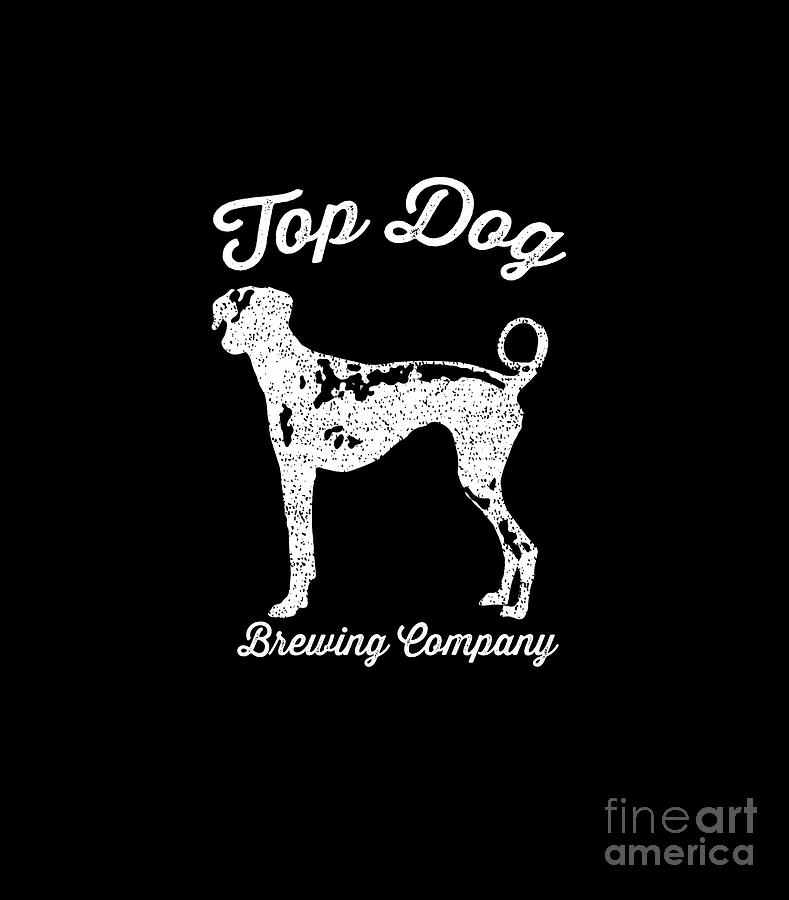 Dog Digital Art - Top Dog Brewing Company Tee White Ink by Edward Fielding