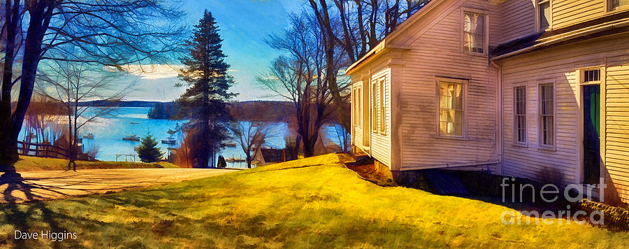 Architecture Digital Art - Top Of The Hill, Friendship, Maine by Dave Higgins