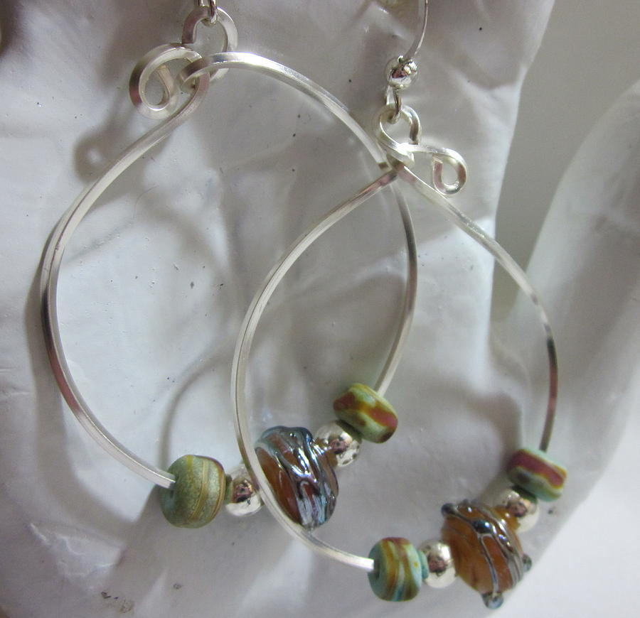 Topaz Jewelry - Topaz And Silver Hoops by Janet  Telander