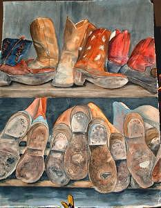 Boots Painting - Tops And Bottoms by Diane Ziemski