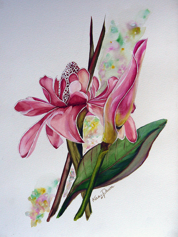 Torch Ginger  Lily Painting by Karin  Dawn Kelshall- Best
