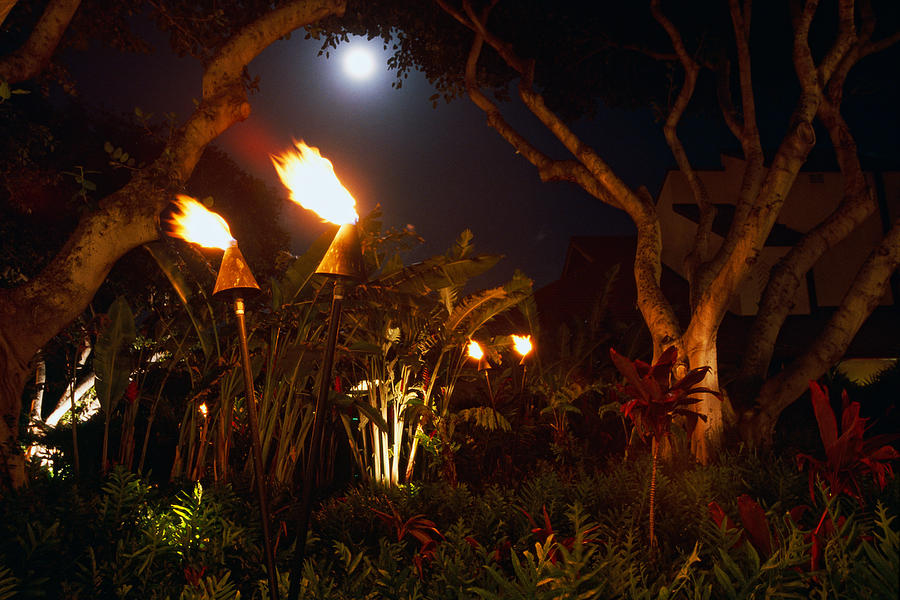 Burning Photograph - Torches Of Hawai by George Oze