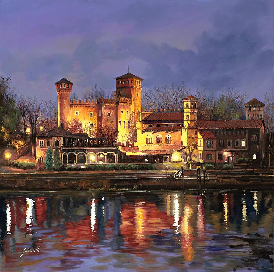 Torino-il Borgo Medioevale Di Notte Painting