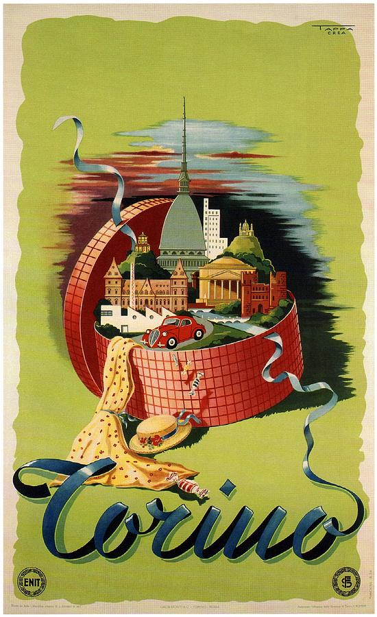 Torino, Italy - Gift Basket - Retro Travel Poster - Vintage Poster Photograph