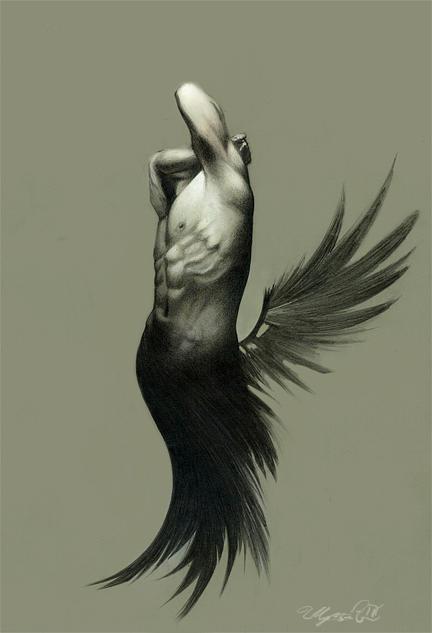 Wings Drawing - Torment by Ulysses Albert III