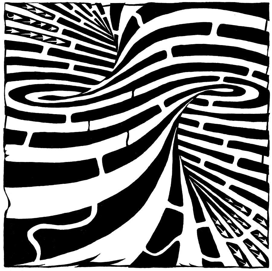 Maze Drawing - Tornado Maze by Yonatan Frimer Maze Artist