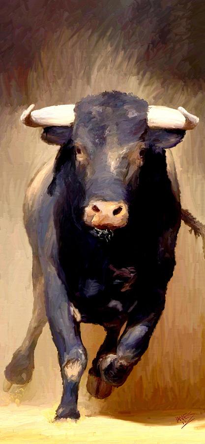 Finest Bull Toro Bravo Painting by James Shepherd HG64