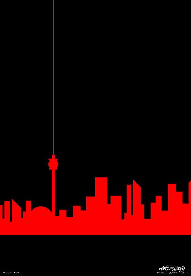 Toronto Painting - Toronto Skyline by Asbjorn Lonvig