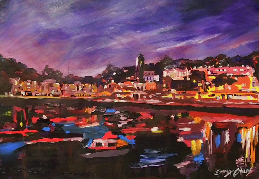 Torquay Harbour Clock Tower At Night Painting