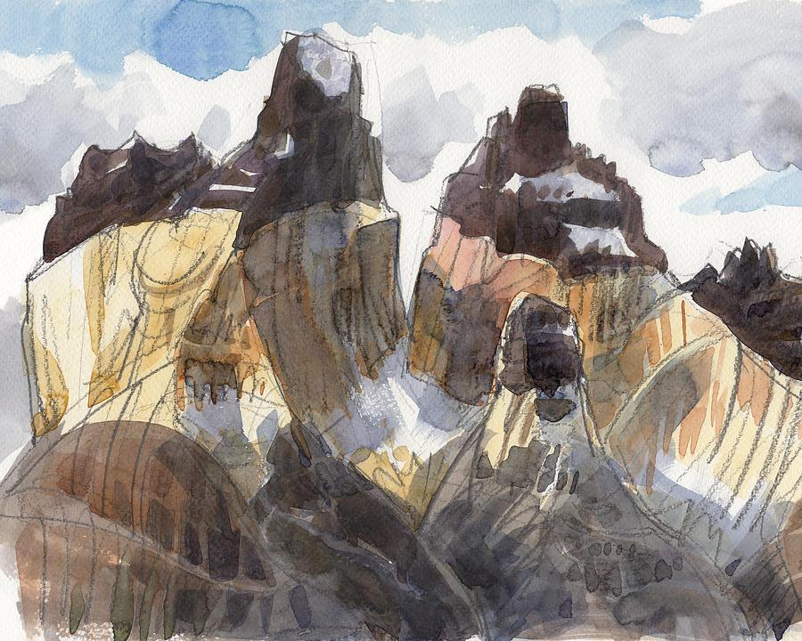 Landscape Painting - Torres Del Paine, Chile by Judith Kunzle
