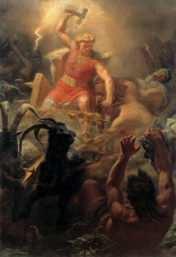 Swedish Painters Painting - Tors Fight With The Giants by Marten Eskil Winge