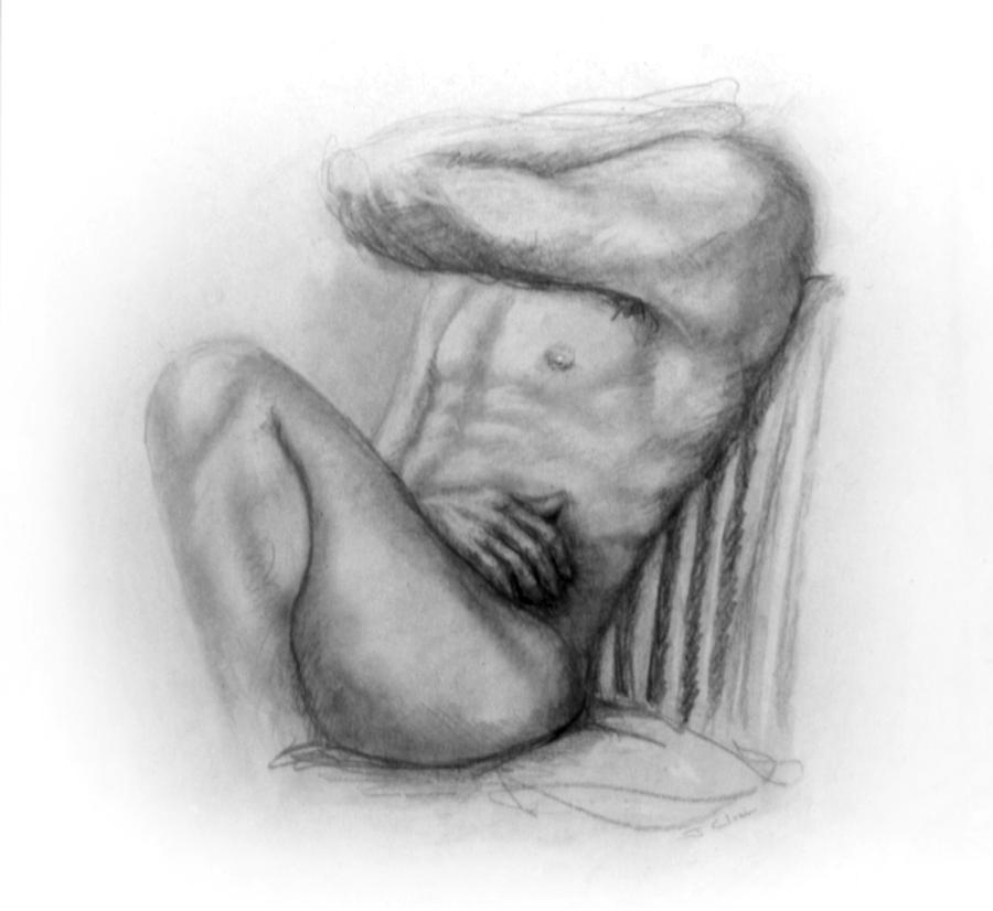 Man Drawing - Torso Chris I by John Clum