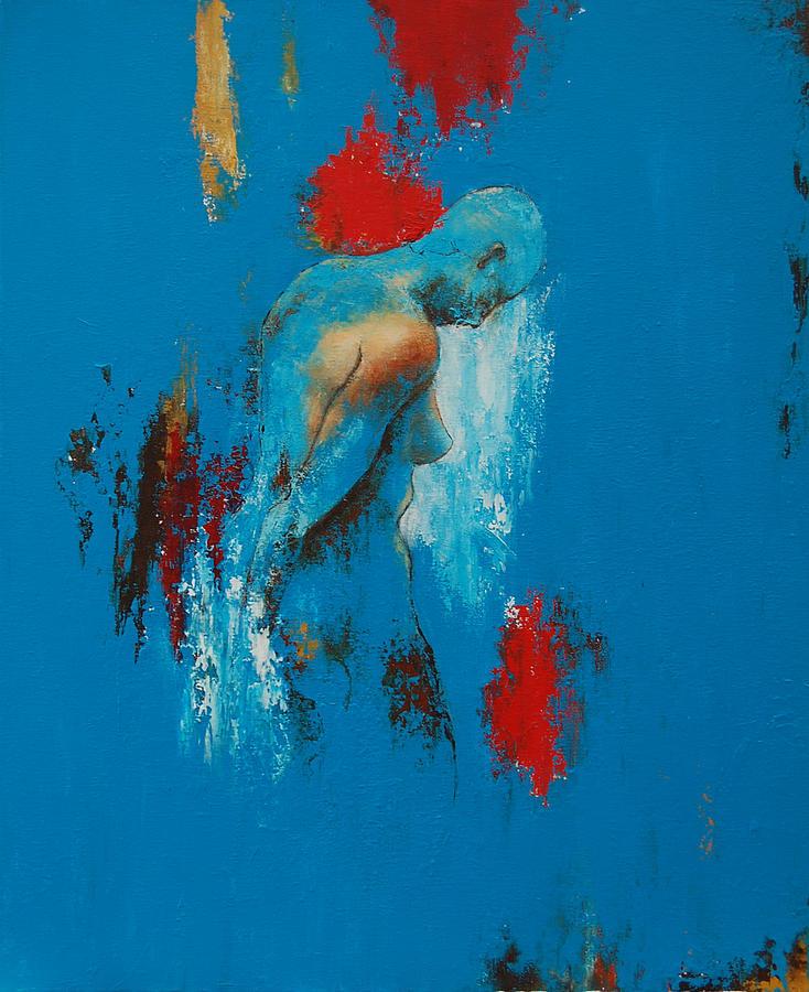 Female Painting - Torso In Blue by Jos Van de Venne