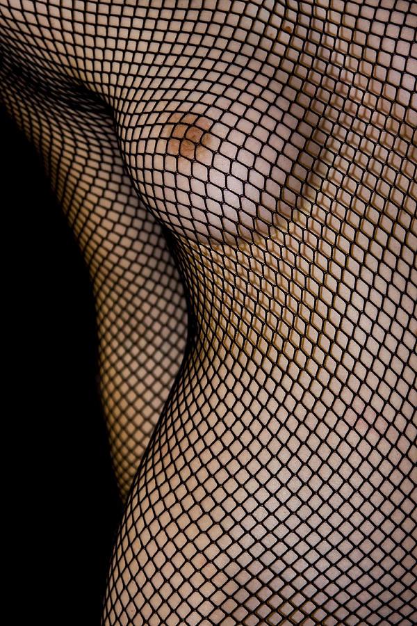 Black Photograph - Torso In Fish-net by Gabor Pozsgai