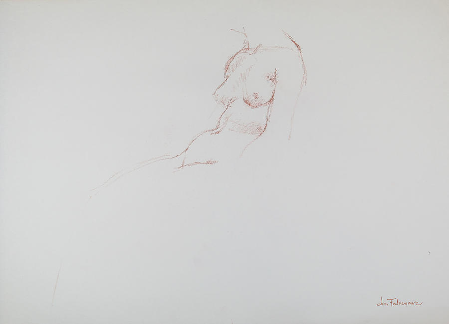 Torso Of Seated Female, Student Work. Drawing