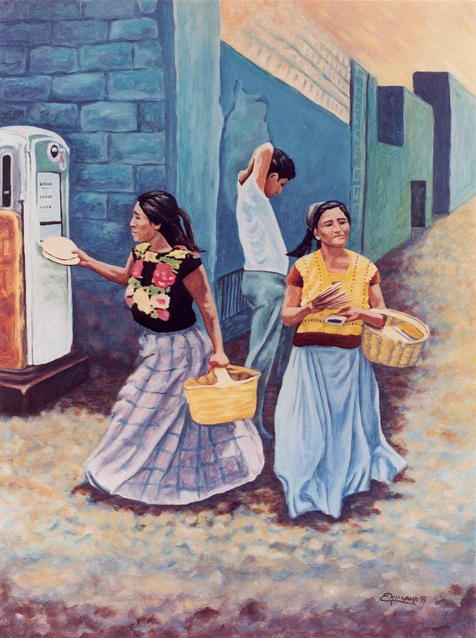 Tortillas Painting - Tortilla Sellers by Emiliano Campobello