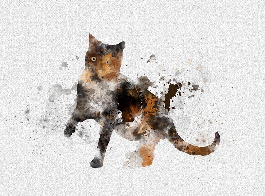 Cat Mixed Media - Tortoiseshell cat by My Inspiration