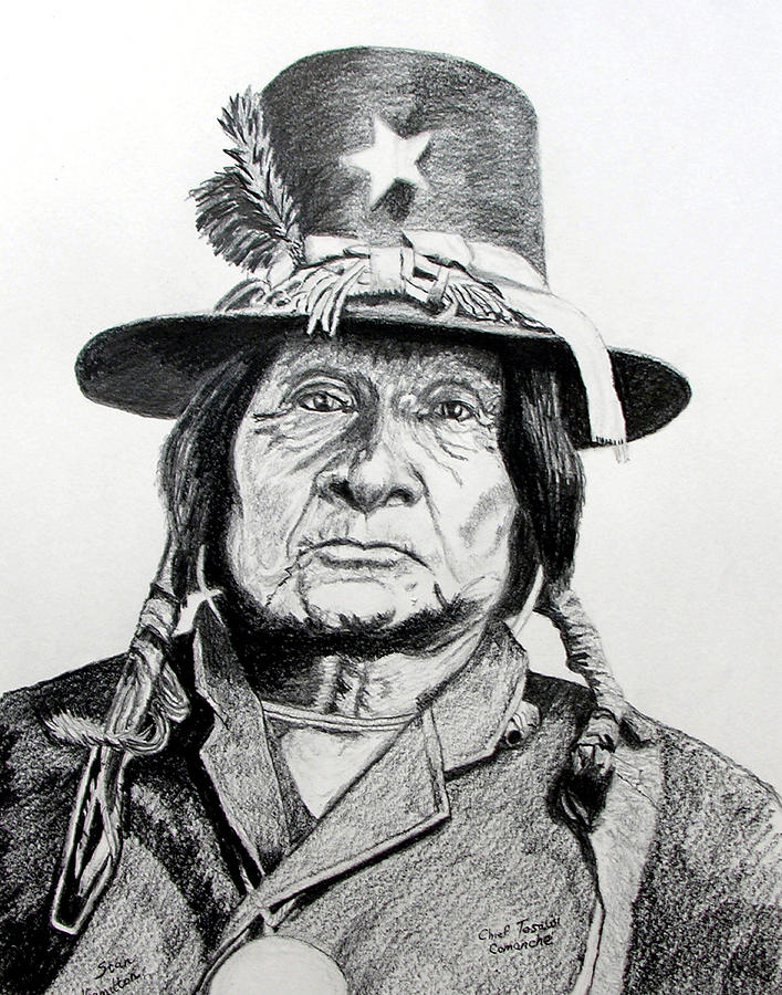 Indian Drawing - Tosawi Comanche Chief by Stan Hamilton
